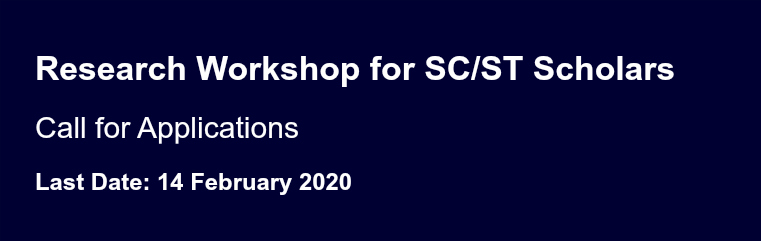 Research Workshop for SC/ST Scholars banner